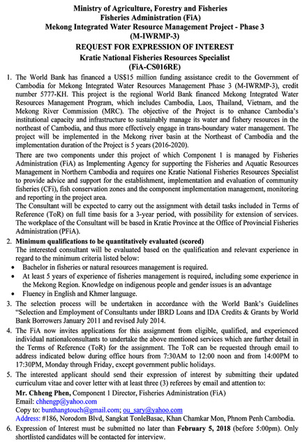 Microsoft Word - Final CS-016RE-REoI- Kratie National Fisheries Resources Specialist.docx